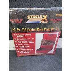 New Steel X 25 piece Drill bit set in metal index case  / Brad Point