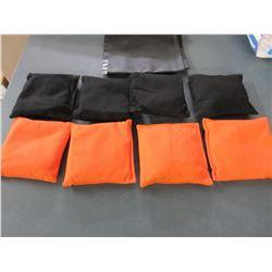 Set of 8 New Bean Bags for any Toss Game / 4 black & 4 Orange