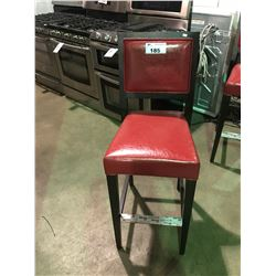 """1 RED LEATHER AND DARK STAINED WOOD  30"""" HIGH BAR STOOL"""