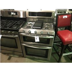 STAINLESS AND BLACK ELECTROLUX  5 BURNER GAS STOVE WITH   DOUBLE DOOR OVEN WITH CENTER GRIDDLE