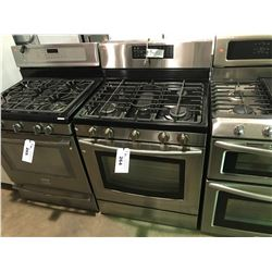 STAINLESS AND BLACK SAMSUNG  5 BURNER GAS STOVE