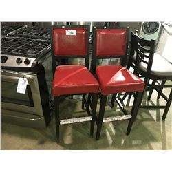 """PAIR OF RED LEATHER AND DARK STAINED  30"""" HIGH BAR STOOLS"""