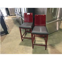 """PAIR OF METALLIC CANDY APPLE RED METAL AND BLACK LEATHER MODERN 28"""" BAR STOOLS"""