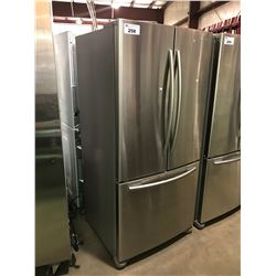 STAINLESS AND GREY SAMSUNG 2 DOOR FRENCH DOOR FRIDGE WITH ROLL OUT FREEZER