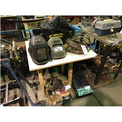 ASSORTED WELDING HELMETS AND GAGES FLOOR MATS AND CAR RAMPS