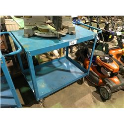 "BLUE 2 TIER METAL MOBILE WORK CART 36"" X 24"" X  34""H"