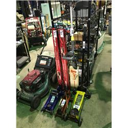 RECHARGING WEEDEATER (NO CHARGER) 2 SNAP-ON 12 OUTLET POWER STRIPS 3 FLOOR JACKS UP TO 2-3/4 TON