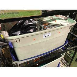 TUB OF ASSORTED TIRE COVERS, , WHEEL COVERS, CHARGER, MISC CONTENTS