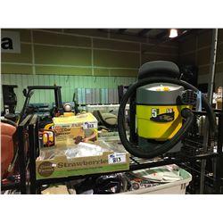DIRT HOUND 5 GALLON WET AND DRY VAC, BOX OF SPRAY GUNS , WEN ORBITAL CAR WAXER