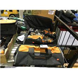 RIDGID TOOL BAG WITH RIDGID 12V LION DRILLS, 2 JOBMAX TOOLS BATTERIES AND  CHARGERS