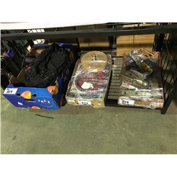 BOX OF JOBMATE DRILLS , CHARGERS, BOX OF SAWBLADES, BOX OF ASSORTED TRAILER COUPLERS