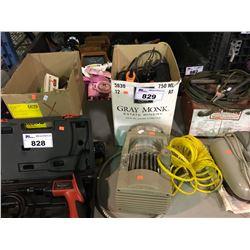 BOX OF DRILLS, STAPLERS, SOLDERING GUN & MISC TOOLS/SMALL POWERPAL AIR COMPRESSOR