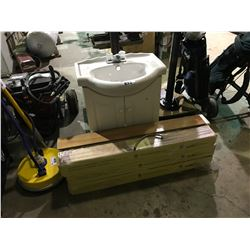 WHITE CERAMIC BATHROOM SINK WITH VANITY & 6 BOXES OF FLOORING