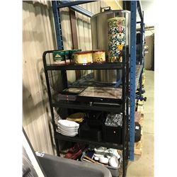 RACK LOT OF ASSORTED DISHES, PICTURES, DECOR & MORE (SHELF NOT INCLUDED)