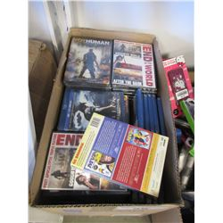 BOX OF ASSORTED NEW DVDS & BLU RAYS