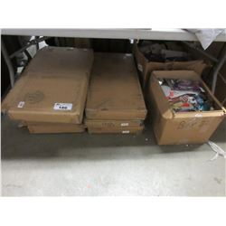 7 FOLDABLE STORAGE OTTOMANS/2 BOXES OF MISC