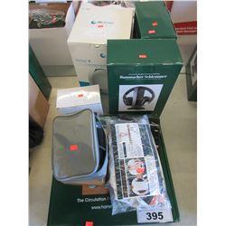 POLLUTION MASKS/POSTURE SURE/PANASONIC CORDLESS PHONE/LEG WRAPS/WIRELESS HEADPHONES/DIGITAL CLOCK