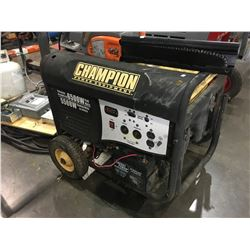 CHAMPION 5500 WATT GAS GENERATOR WITH BREAKER PANEL, HEAVY DUTY EXTENSION CORD, ELECTRIC CHAINSAW &