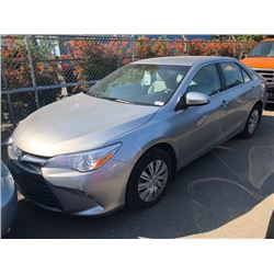 2015 TOYOTA CAMRY, GREY, 4DRSD, GAS, AUTOMATIC, VIN#4T1BF1FKXFU880868, 48,515KMS,