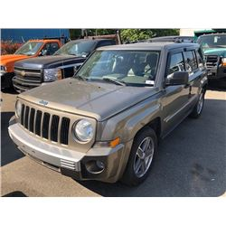 2008 JEEP PATRIOT, GREEN, 4DRSW, GAS, AUTOMATIC, VIN#1J8FF48W08D683887, 163,881KMS,