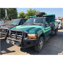2000 FORD F550 2WHDR, DUMP TRUCK, GREEN, DIESEL, MANUAL, VIN#1FDAF57F5YEC70720, 164,353KMS,