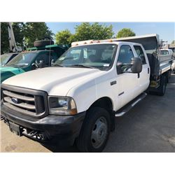 2004 FORD F-450 DUMP TRUCK, 4DR, WHITE, VIN # 1FDXW46PX4EA17384 110,873KMS, DIESEL, AUTOMATIC