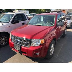 2009 FORD ESCAPE, RED, 4DRSW, GAS, AUTOMATIC, VIN#1FMCU93779KC45180, 113,840KMS,