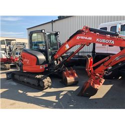 "2016 KUBOTA EXCAVATOR MODEL# U55-4, SERIAL #01H26111, DIESEL, 550 HOURS, RUBBER TRACKS, 22"" DIGGING"