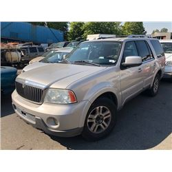 2003 LINCOLN NAVIGATOR, GREY, 4DRSW, GAS, AUTOMATIC, VIN#5LMFU28R03LJ10961, 269,053KMS,