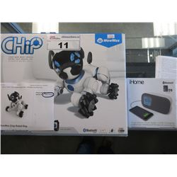 WOWWEE CHIP ROBOTIC DOG/IHOME DUAL ALARM CLOCK RADIO WITH USB CHARGING