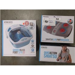 HOMEDICS SHIATSU ELITE FOOT MASSAGER/HOMEDICS QUAD ACTION SHIATSU/HOMEDICS SHOWER BLISS FOOT SPA