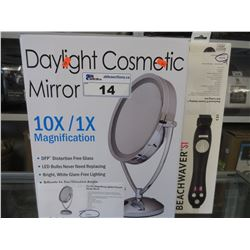 DAYLIGHT 10X MAGNIFICATION COSMETIC MIRROR/BEACHWAVER S1 CURLING IRON