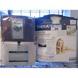 "THERAPEDIC 2"" KING SIZE MEMORY GEL MATTRESS/2 SETS OF KING SIZE SHEET SETS"