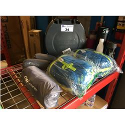 CAMPERS LOT -  2 MARMOT VOYAGER SLEEPING BAGS, 2 RIKKI TIKKI INFLATABLE BED PADS AND OR  BEVY TENT,