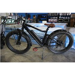 BLACK PROMAX ELECTRIC BIKE WITH EXTRA WIDE TIRES AND BASKET *NO KEYS OR CHARGER*