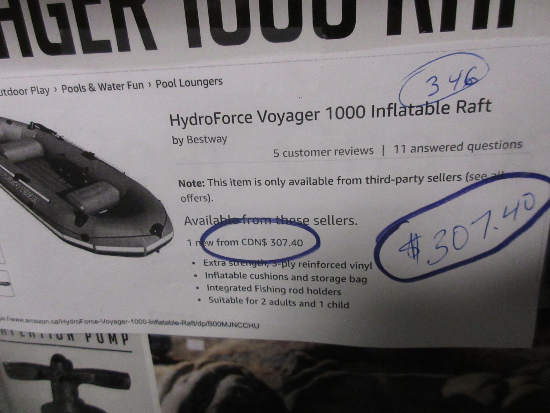 HYDRO-FORCE VOYAGER 1000 RAFT, INTEX MOTOR MOUNT KIT & KAYAK