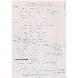 Paul McCartney Handwritten Lyrics for 'Through Our Love'