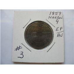 1859 Canadian Large Cent - Narrow 9  -  High Grade