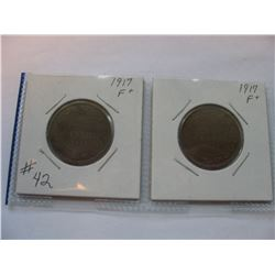 1917 Canadian Large Cents  -  Lot of 2