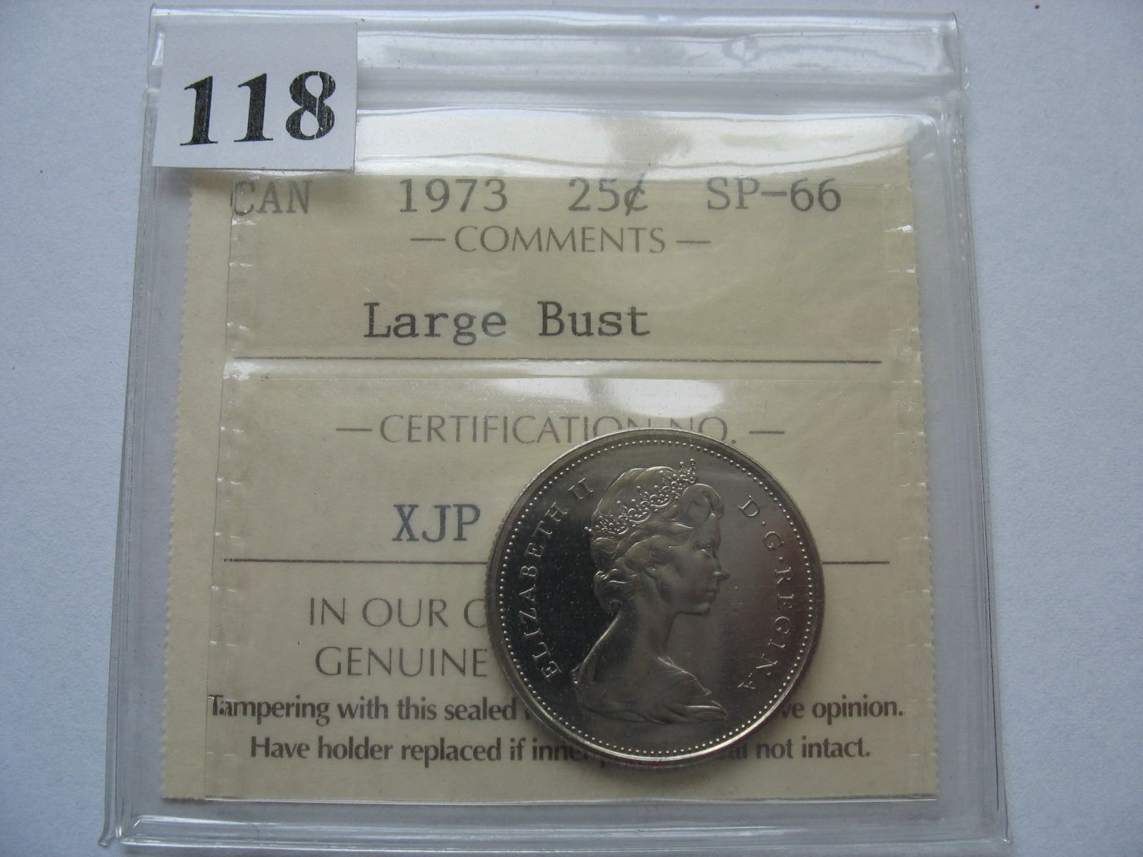 1973 Large Bust Quarter - ICCS Graded SP-66 Rare