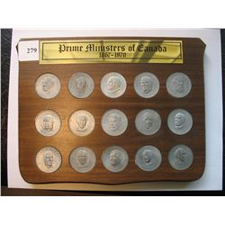 Prime Ministers of Canada Medallions - Wooden Display