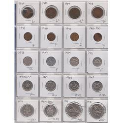 SHEET OF 20 COINS, , 4 LRG PENNIES, 1859, 1888, 1909, 1918