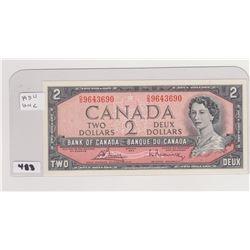 1954 UNCIRCULATED 2 DOLLAR BILL, BOUEY/RASMINSKI SIGNATURE