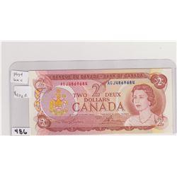 1974 UNCIRCULATED 2 DOLLAR BILL