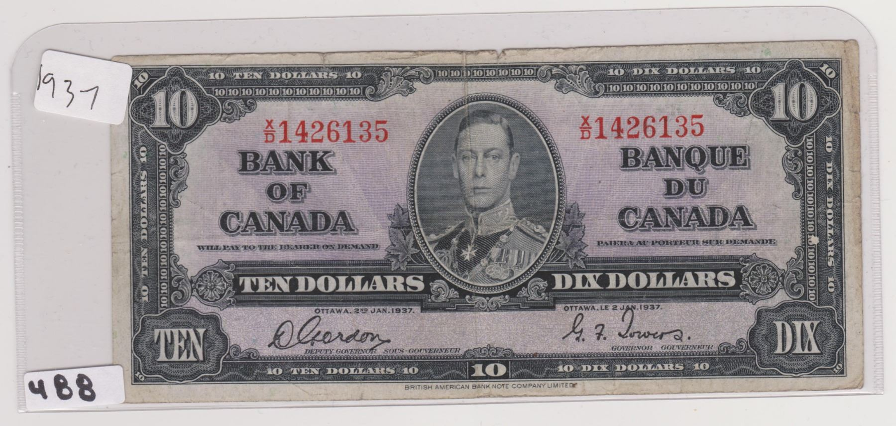 1937 10 DOLLAR BILL