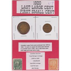 1920 LARGE PENNY & SMALL CNDN PENNY, LAST YEAR FOR LARGE PENNY, FIRST YEAR FOR SMALL PENNY