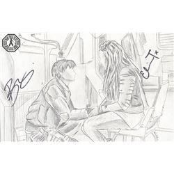 100, The - Bellamy/Clarke Original Art Signed by Bob Morley & Eliza Taylor