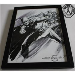 Batman Original Drawing by Comic Artist Jean-Jacques Dzialowski (Framed)