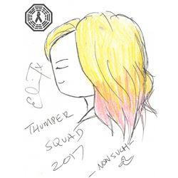 Thumper Movie Kat Carter Original Doodle Signed by Eliza Taylor (The 100)