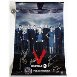 V (2009 TV) Mini Poster Signed by M. Baccarin, J. Badler, E. Mitchell, L. Vandervoort